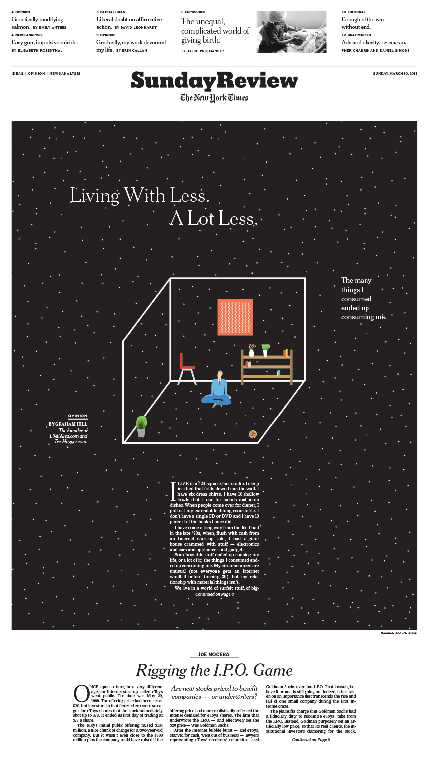 Sunday Review Cover: Living With Less. A Lot Less.